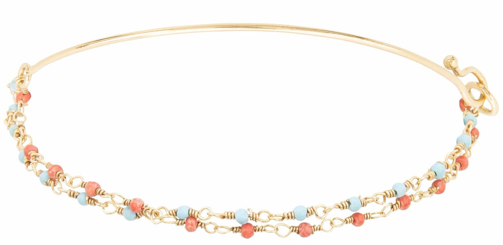 Gold Double Bracelet with Tiny Turquoise and Coral Beads