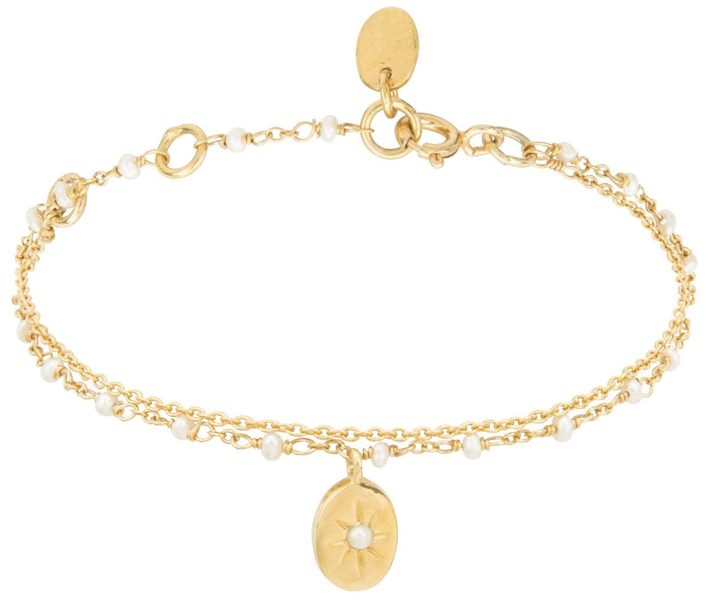 Gold Double Bracelet with Tiny White Beads and Pendant