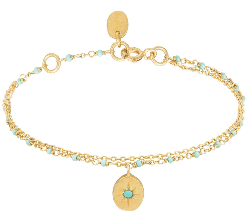 Gold Double Bracelet with Tiny Turquoise Beads and Pendant