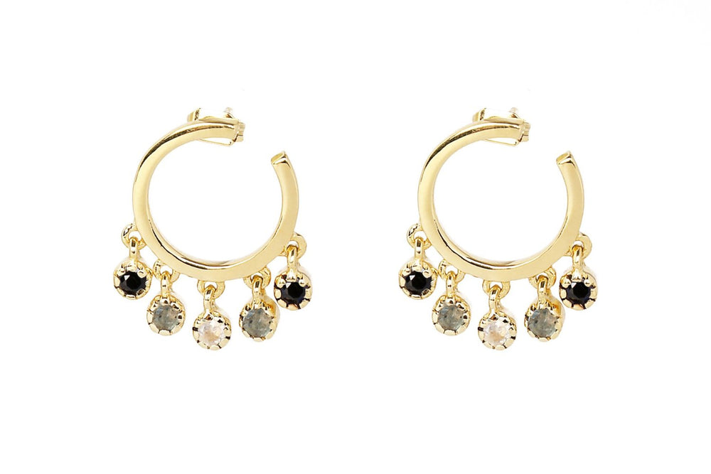 Gold Micro Hoop Stud with Dangling Zircons