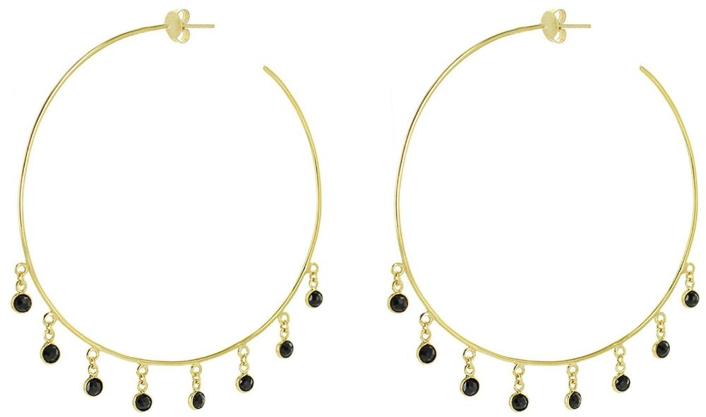 Giant Hoops with Black Zircon Dangles