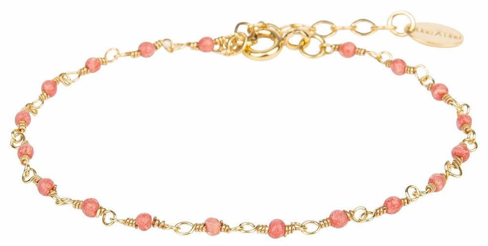 Gold Bracelet with Tiny Coral Beads