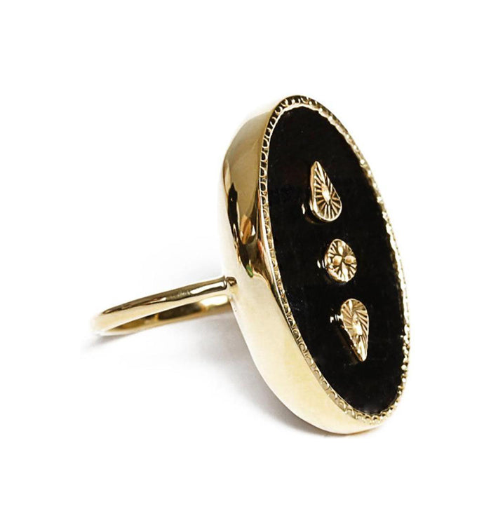 Gold Onyx Oval Ring