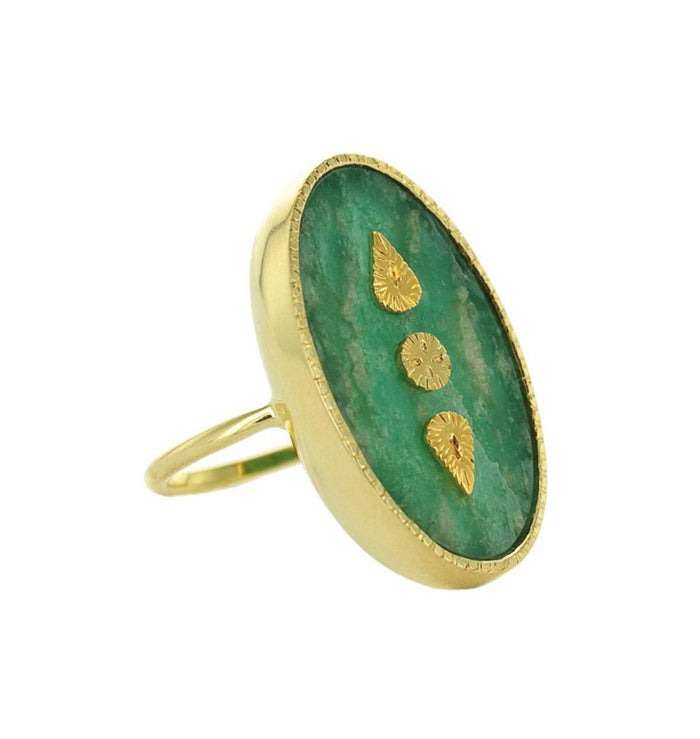 Gold Amazonite Oval Ring