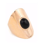 Rose Gold Ring with Onyx Stone