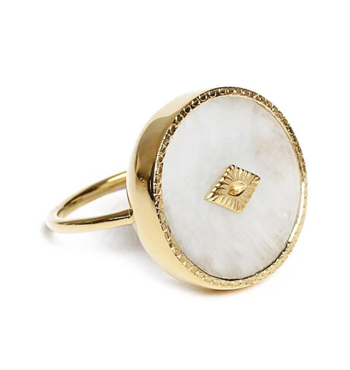 Gold Moonstone Circular Ring