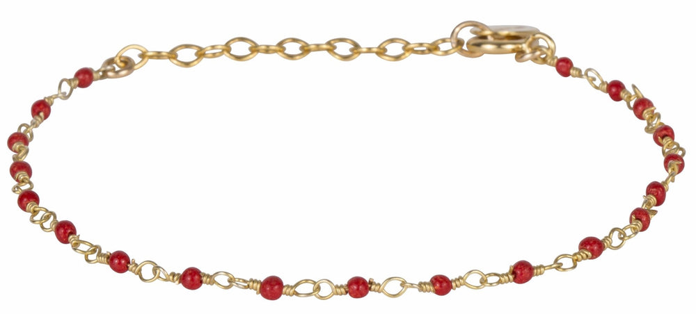 Gold Bracelet with Tiny Red Beads