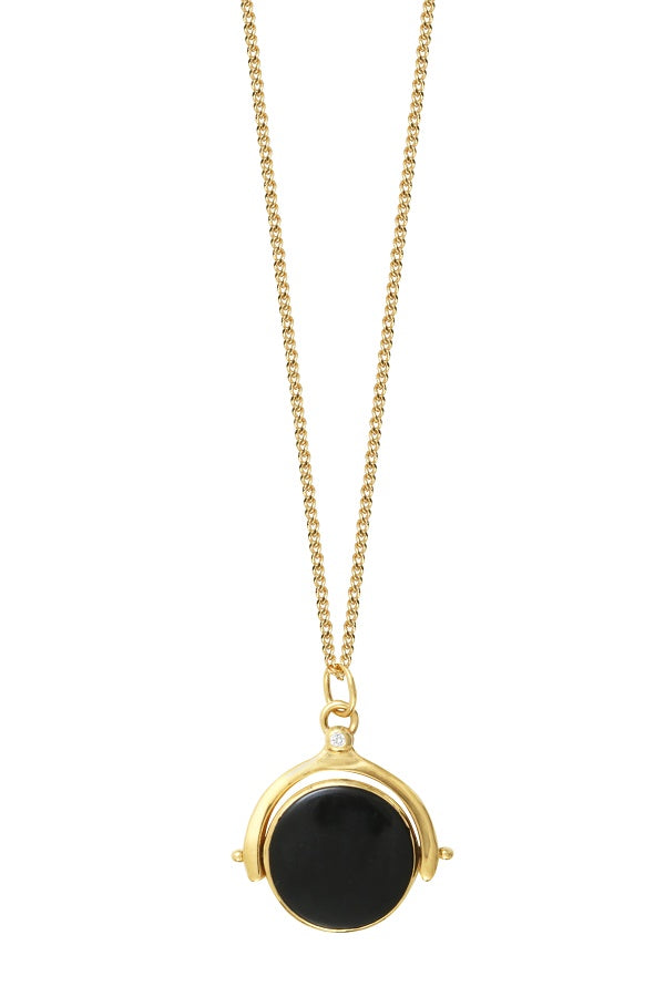 Gold Double Sided Necklace with Onyx