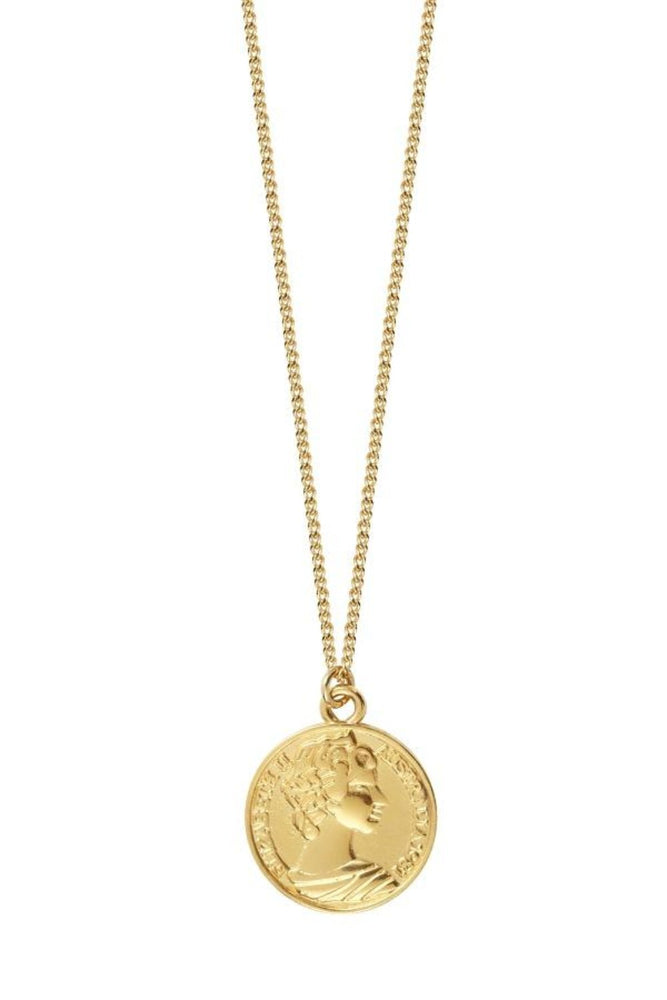 Gold Necklace with Coin Pendant