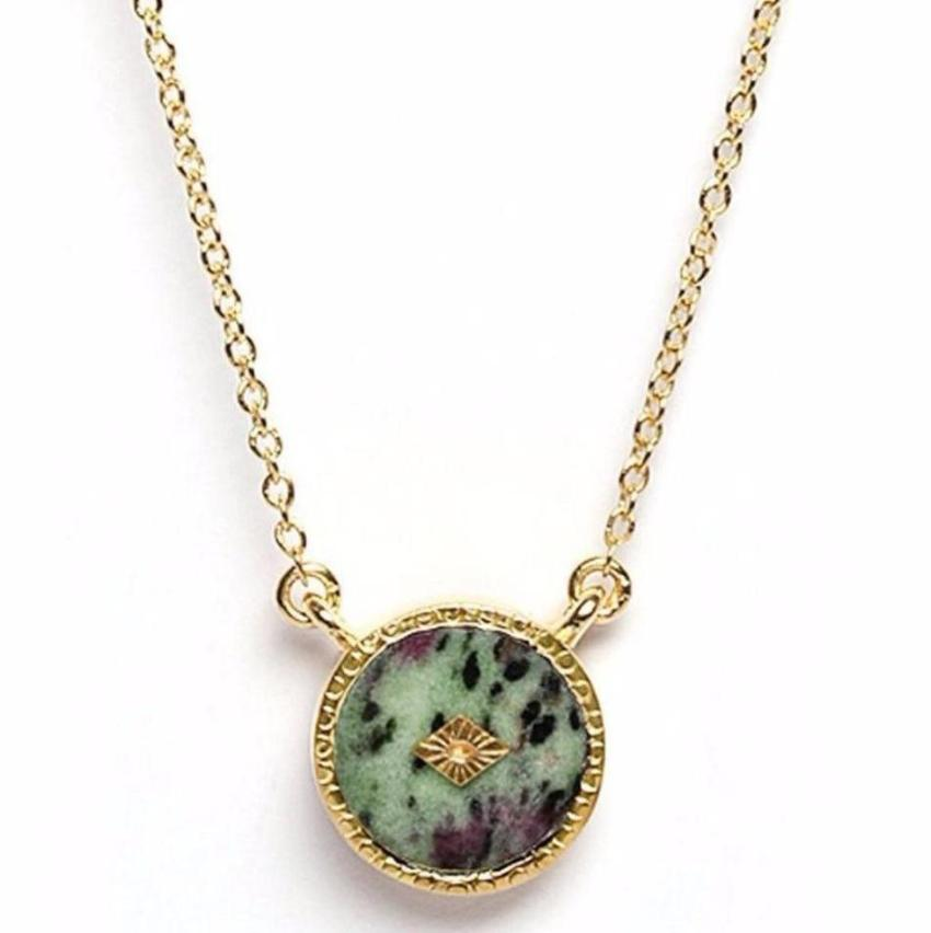 Gold Anyolite Pendant Necklace