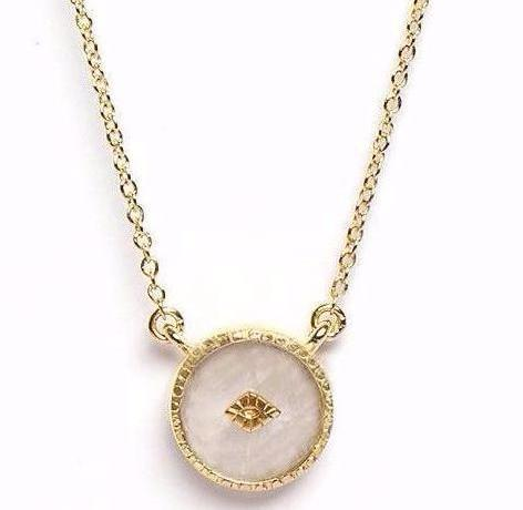 Gold Moonstone Pendant Necklace