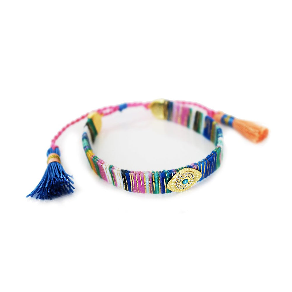 Gold Multicoloured Fabric Bracelet with Evil Eye in Zircons