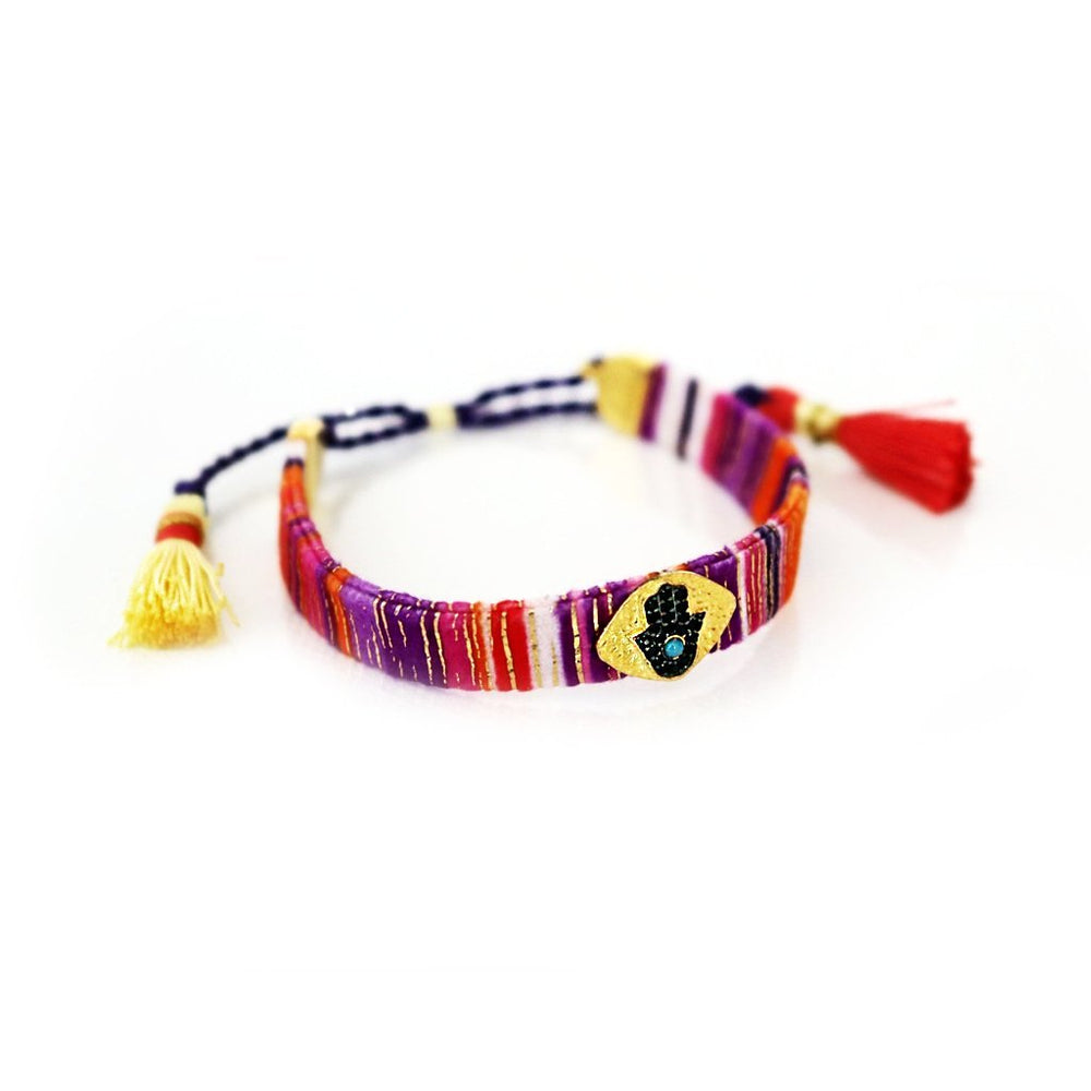 Multicoloured Fabric Bracelet with Hamsa in Zircons