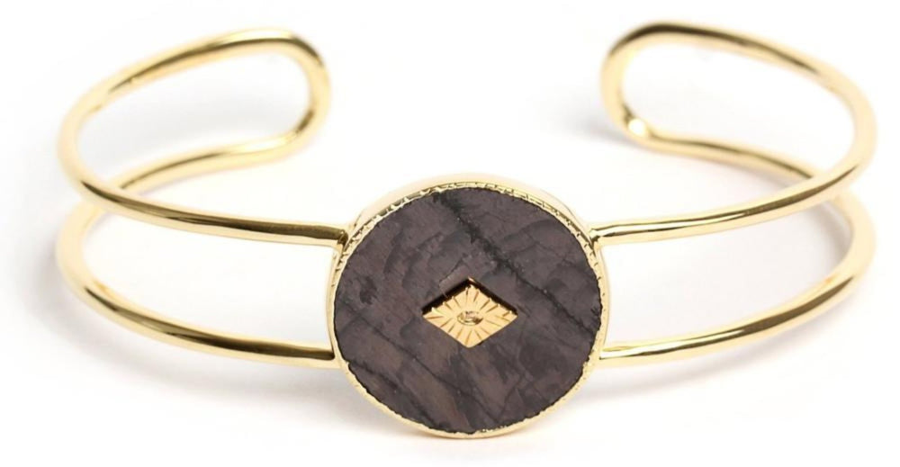 Gold Onyx Double Bangle