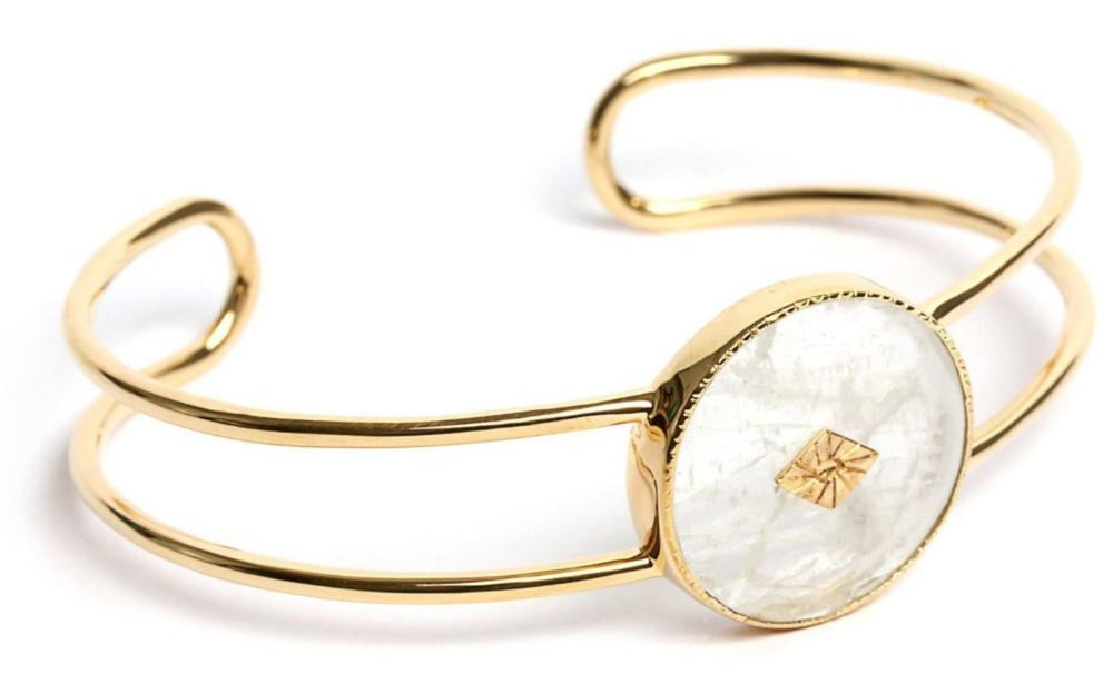 Gold Moonstone Double Bangle