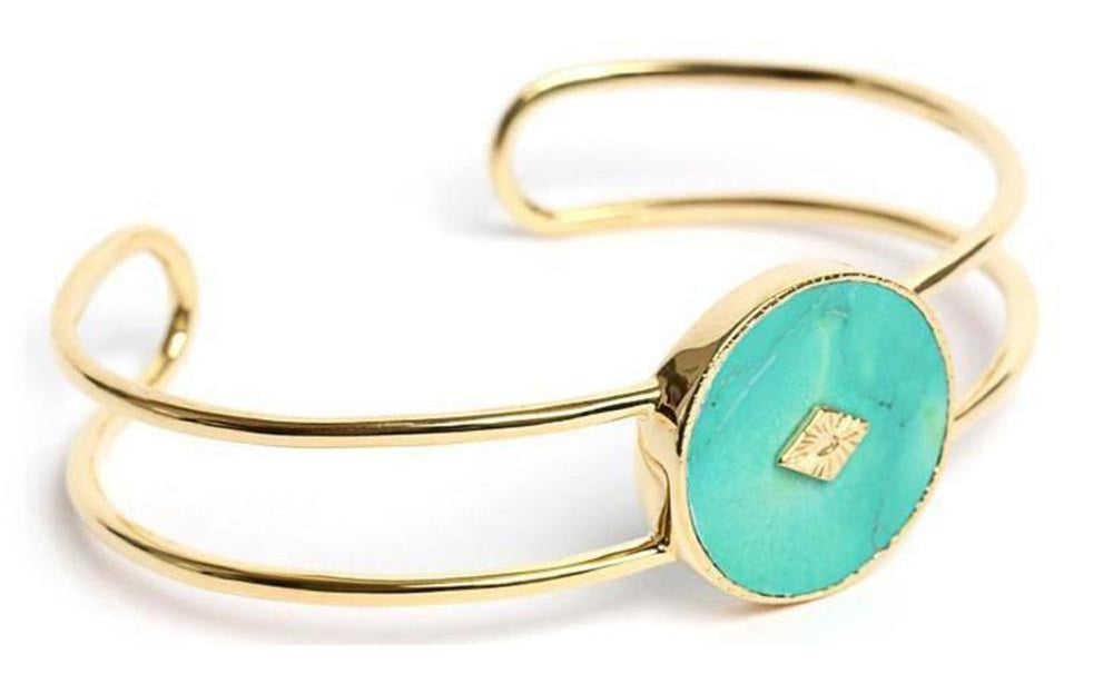 Gold Turquoise Double Bangle