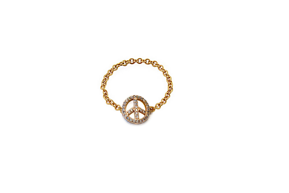 Rose Gold Peace Chain Ring