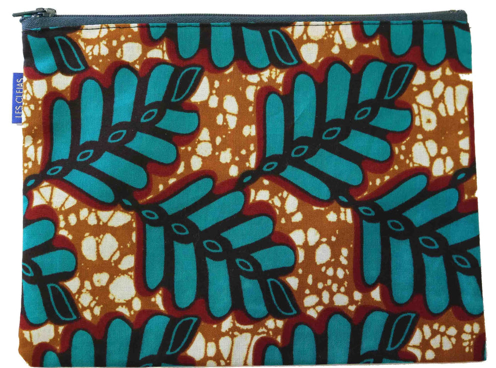 Teal Palm Print Pouch