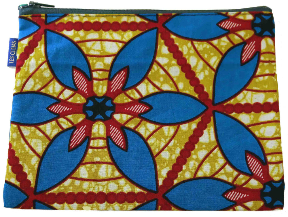 Crimson and Mustard Giant Flower Pouch