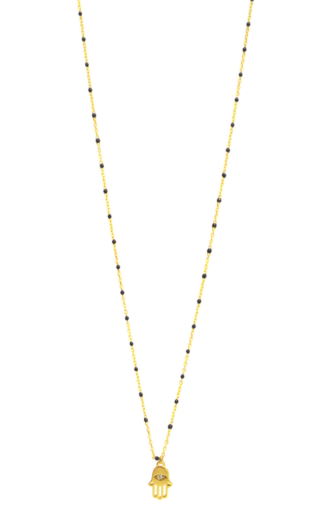 Gold Necklace with Tiny Black Beads and Hamsa Charm