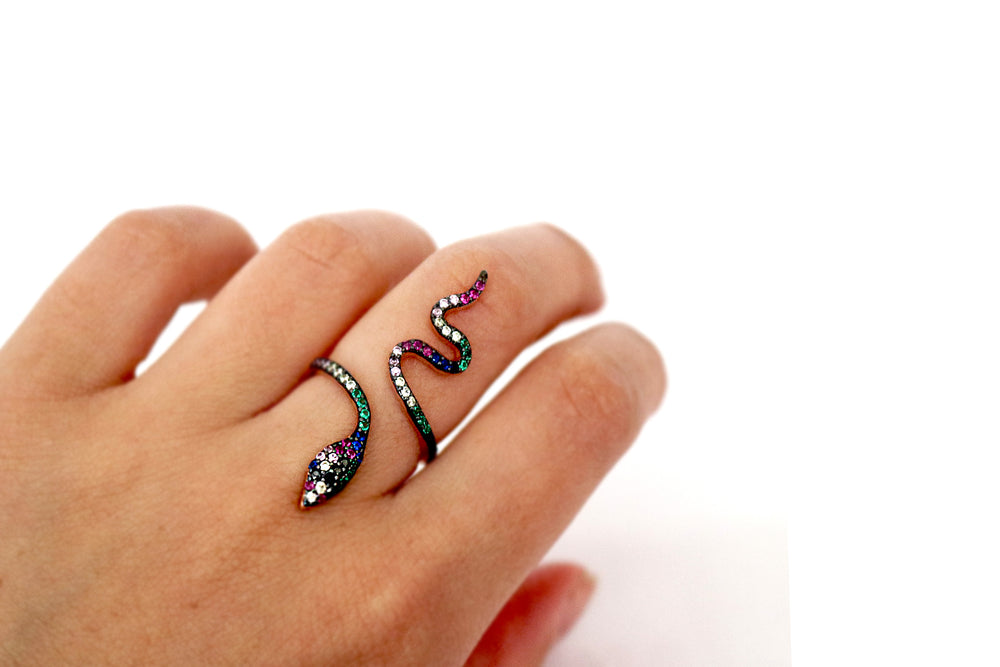 Rose Gold Snake Ring with Multicoloured Zircons