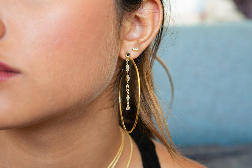 Giant Gold Hoops with Black Zircon Stud and Chain