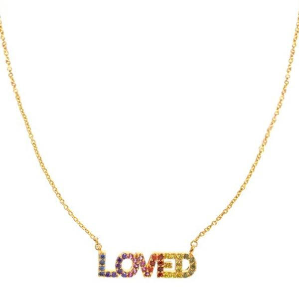 Gold 'LOVED' Necklace in Rainbow Zircons