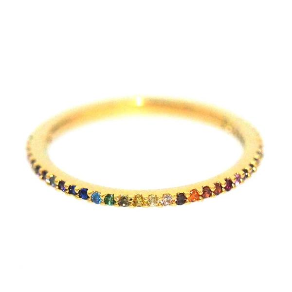 Gold Pave Ring with Rainbow Zircons