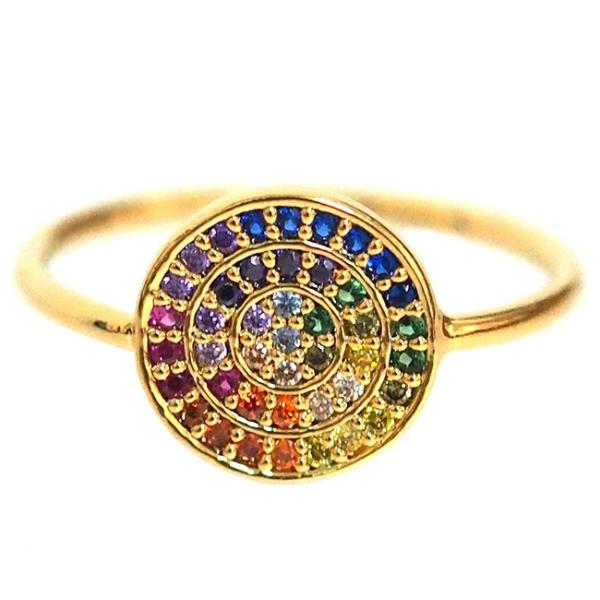Gold Rainbow Circle Ring with Zircons