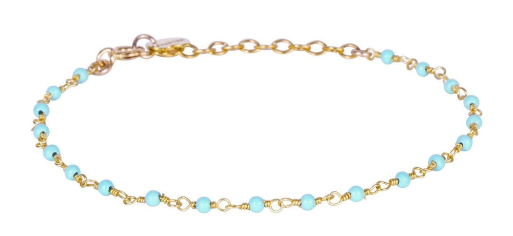 Gold Bracelet with Tiny Turquoise Beads