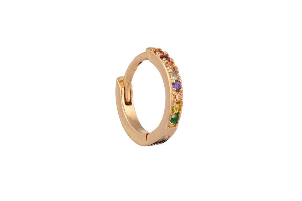Rose Gold Micro Hoop with Multicoloured Zircons