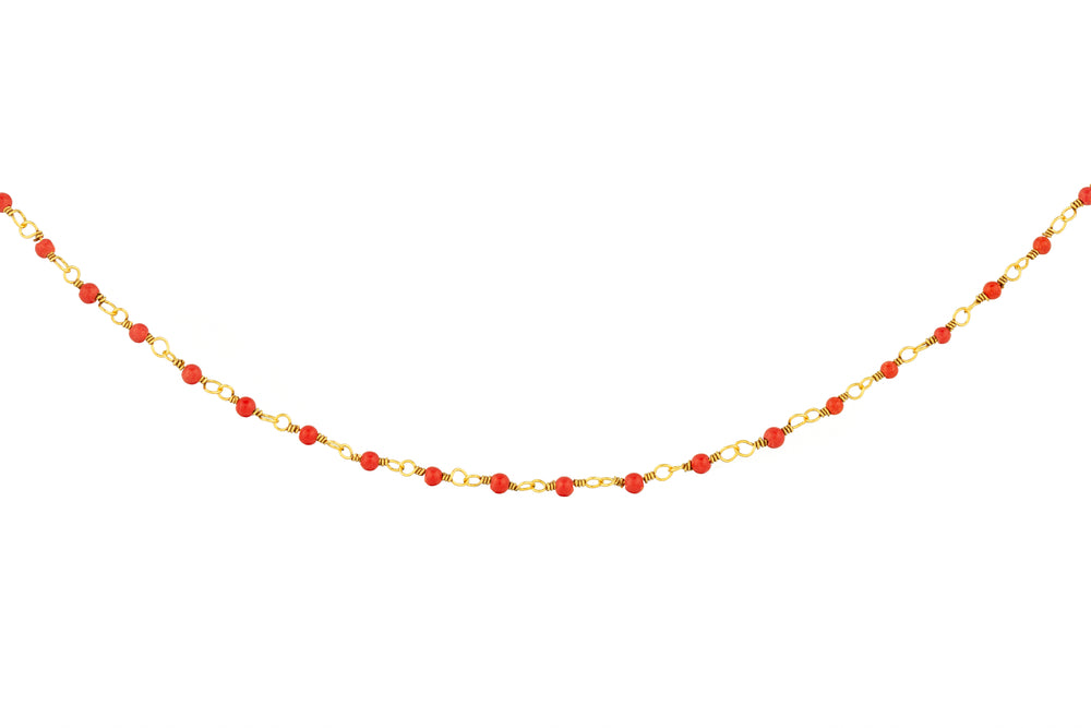 Gold Necklace with Tiny Red Beads