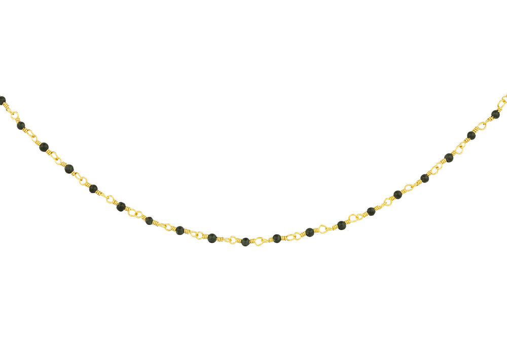 Gold Necklace with Tiny Onyx Beads