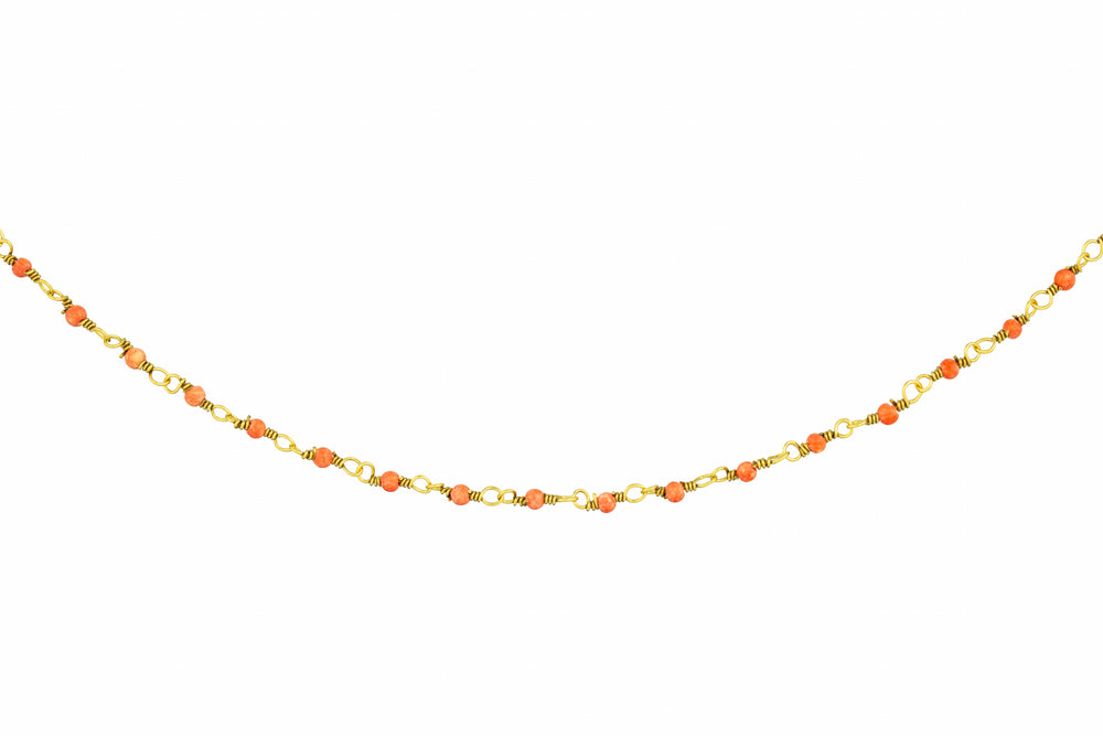 Gold Necklace with Tiny Coral Beads
