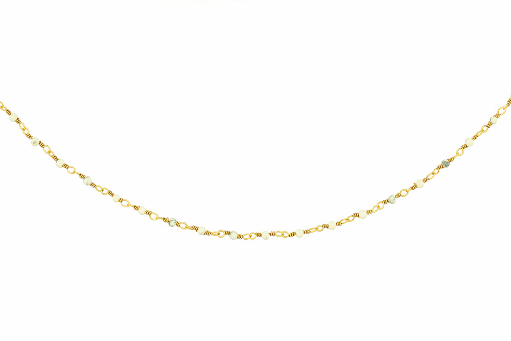 Gold Necklace with Tiny White Beads