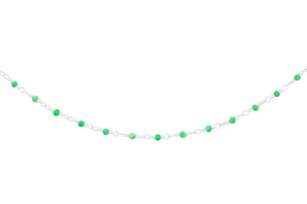 Silver Necklace with Tiny Green Beads