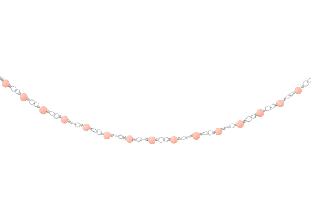Silver Necklace with Tiny Pink Beads