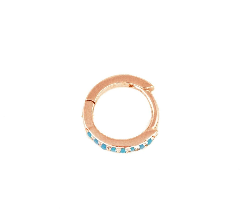 Rose Gold Micro Hoop with Turquoise stones