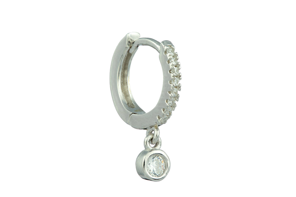 Silver Micro Hoop with a Dangling Zircon