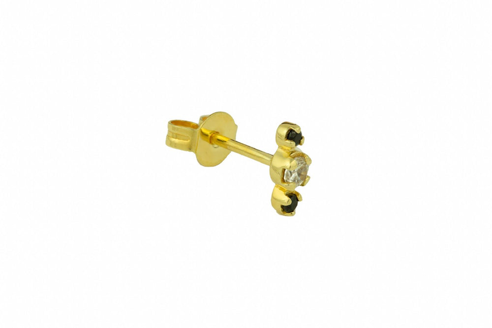 Gold Black and White Zircon Stud