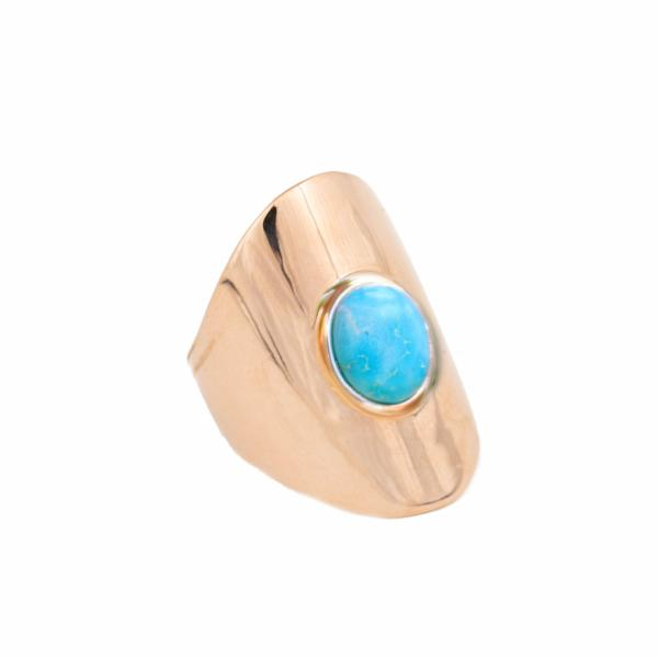 Large Rose Gold Plated Ring with Turquoise stone