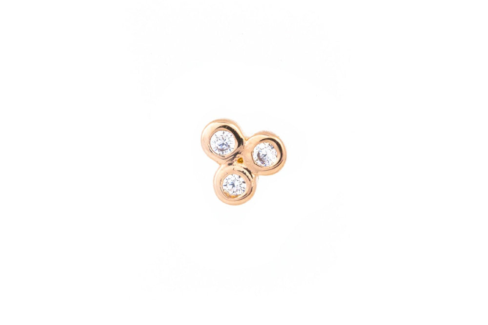 Rose Gold Stud with 3 Zircons