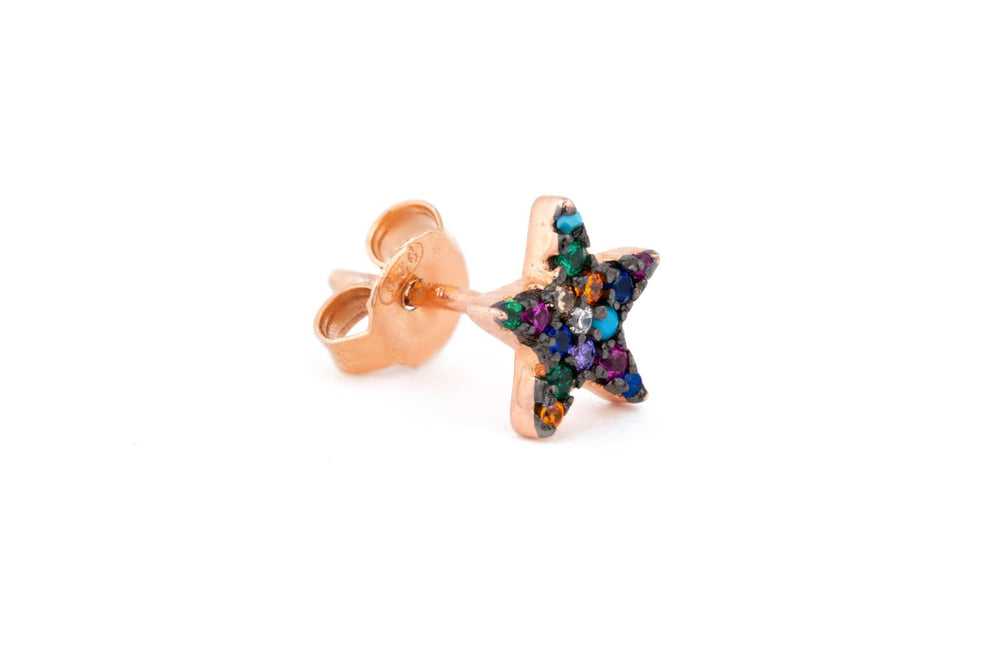 Rose Gold Multicoloured Star Stud
