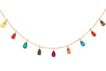 Rose Gold Multicoloured Pear Drop Necklace