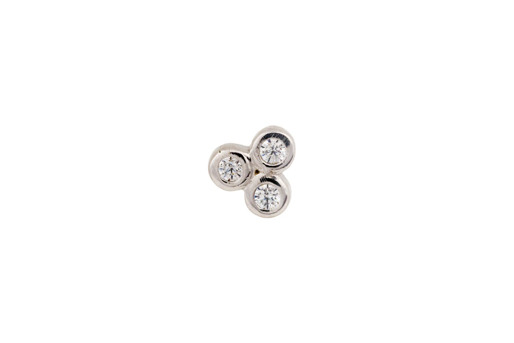 Silver Stud with 3 Zircons