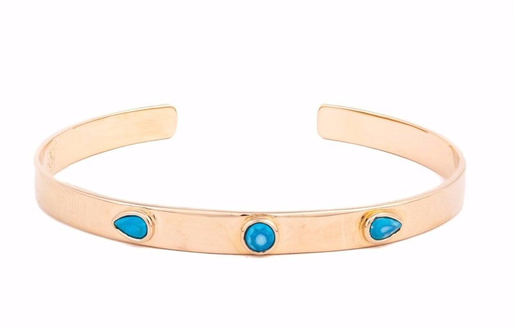 Rose Gold Bangle with Turquoise Stones