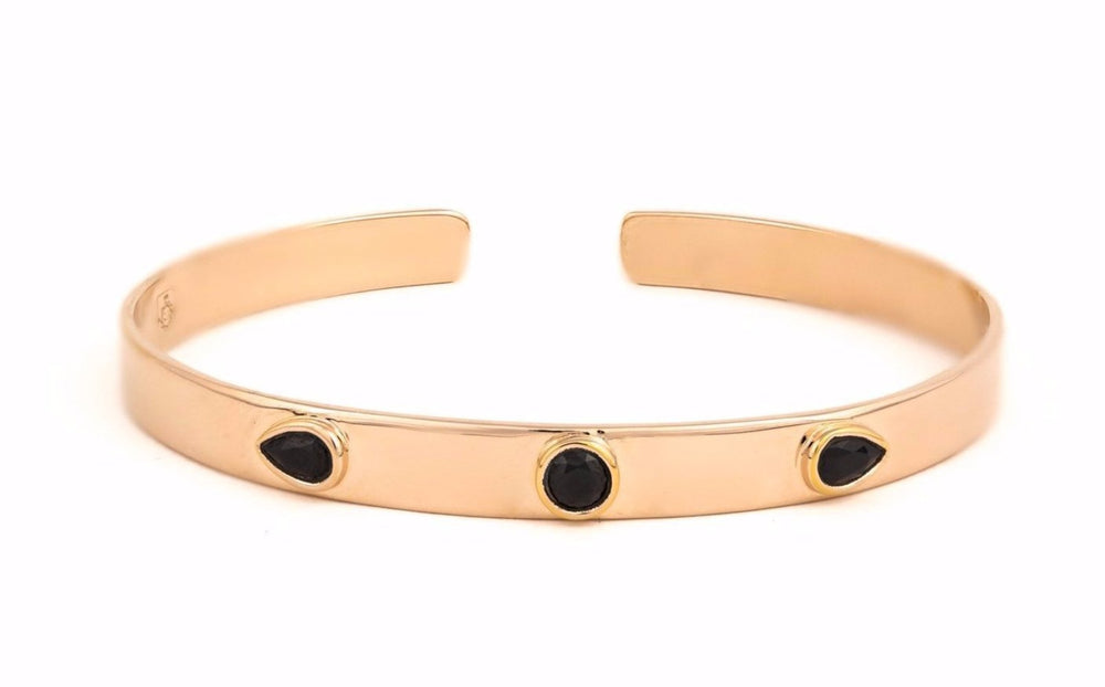Rose Gold Bangle with Black Zircons