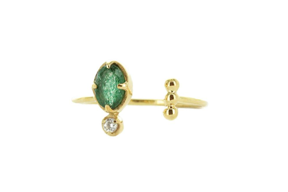Gold Ring with Aventurine and a White Zircon