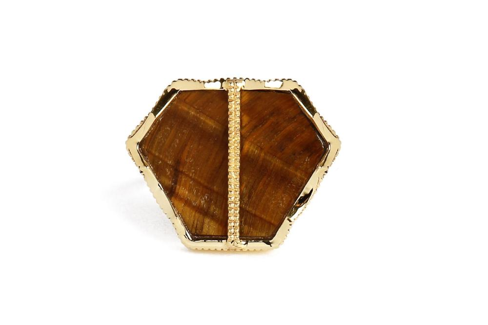 Gold Tiger Eye Hexagon Ring