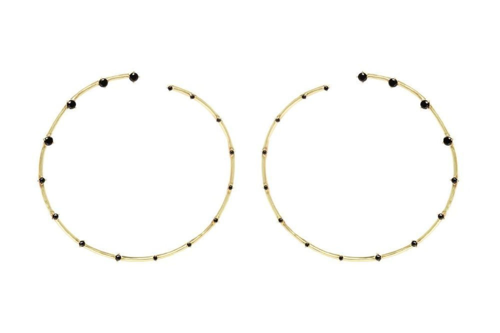Giant Black Stud Hoops